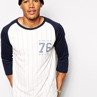 ASOS Stripe 3/4 Sleeve T-Shirt With Chest And Back Print