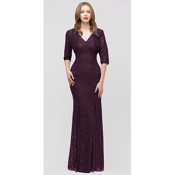 CLEARANCE - Plum V Neck Sleeveless Floor Length Mermaid Formal Gown With Jacket (Size 3XL)