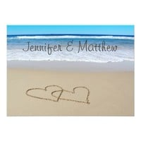Beach Love Hearts wedding invitation