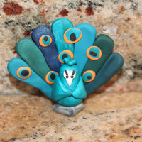 Theodore the Polymer Clay Peacock Miniature, Pocket Totem, Exotic Bird Figurine, Small Wild Bird Sculpture, Teal, Orange, Black, White,Gray