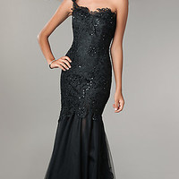 One Shoulder Black Lace Prom Gown by Jump