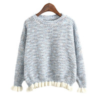 Long Sleeve Knit Tops Women's Fashion Pullover Round-neck Sweater [8422526401]