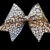 LARGE Silver Leopard Cheer Bow for Cheerleaders