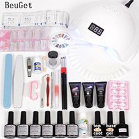Nail Art Tool Manicure  Polygel Quick Extension  Builder Gel Set 48w Led Nail Lamp Curing 6pcs Nail Polish Uv Gel Varnish Set