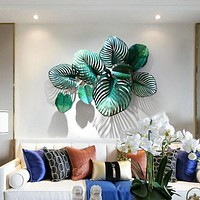 3D Green Leaf Pattern  Background Wall Hanging Stickers