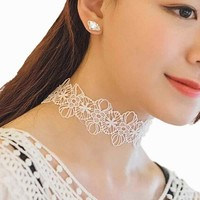 Fashion Female Sweet Necklace High-end Embroidered Lace choker Broadside Necklace