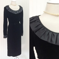 Demi dress // 1960s black velvet satin ruffle Abe Schrader designer mod midi dress // matching belt // size L 38
