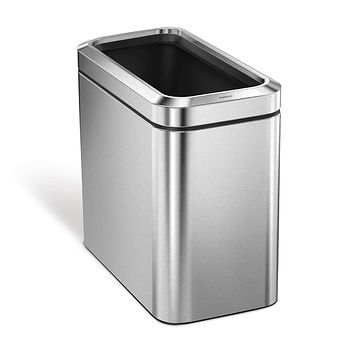 simplehuman 25 Liter / 6.6 Gallon Slim Open Commercial Trash Can, Brushed Stainless Steel 25 Liter Trash Can