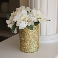 Gold Centerpiece, Gold glitter Centerpiece, Wedding Centerpiece, Bridal Shower Centerpiece, Wedding Decor, Gold Home Decor, Gold Vase
