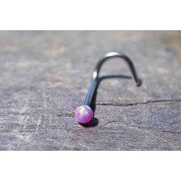 18g or 20g Pink Fire Opal Nose Ring Corkscrew