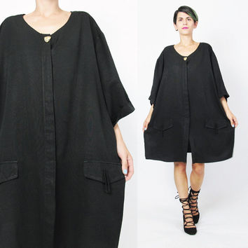 90s Black Plus Size Blouse Slouchy Oversize Black Blouse Vintage Black Shirt Dress Minimal Short Sleeve Blouse Loose Bow Pockets (XL/XXL)