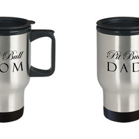 Pit Bull Mom & Dad - Set Of 2 Travel Mugs