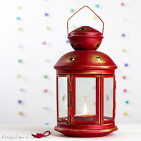 Christmas Table Decoration Customized Red Gold Candle Holder Outdoor Lighting Holiday Table Decor by OpenVintageShutters