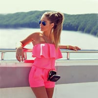 2016 summer new fashion women solid color ruffles jumpsuit sexy strapless tunic rompers plus size