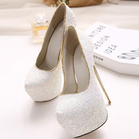 Glitter Almond Toe Platform Stiletto High Heel Pumps
