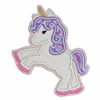 patch UNICORN appliqué - Embroidered iron on patch on stitching felt, cotton fabric, embroidery thread, approx. 8,5x10,5 cm, creme/purple