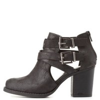 Belted Cut-Out Chunky Heel Booties by Charlotte Russe - Black