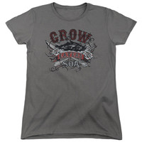 SONS OF ANARCHY/EAT MOE CROW-S/S WOMEN'S TEE-CHARCOAL-XL