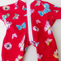 """Clothes BUTTERFLY Red Pajamas Sleeper pjs Handmade For Bitty Baby 15"""" Girl Doll"""