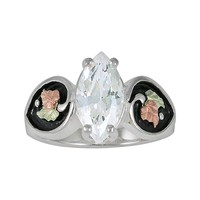 Black Hills Gold Tri-Tone Cubic Zirconia Leaf Ring in Sterling Silver (Rose Gold/Stone/Green)