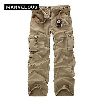 Manvelous Cargo Pants Mens 2017 Spring 100% Cotton Loose Straight Trousers Pocket Full Length Mens Army Green Tactical Joggers