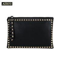AZXCG Women Clutch Vintage Female Handbag Day Clutches Party Bag Rivet Zipper Soft PU Leather Famous Designer Luxury Brand