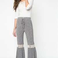 Boho Ribbed Lace Inlay Bell Bottom Pants