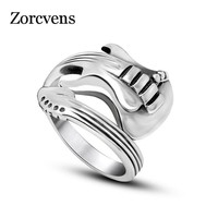 ZORCVENS New Fashion Jewelry Stainless Steel Mens Ring Titanium Steel Engraved Guitar Punk Rock