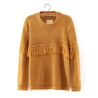 Cutout Fringed Knitted Sweater