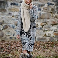 Free People Womens Exploded Snowflake Hooded Sweater