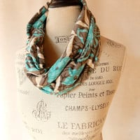 Circular Foulard Rayon Knit in Turquoise, Gray and White