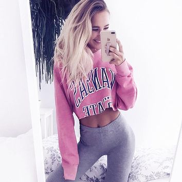 KANSAS STATE Long Sleeve Pink Crop Top Pull over [106208952335]
