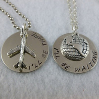 Long distance relationship or His & Her Necklaces and Charms - I'll Be There - I'll Be Waiting