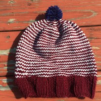 maroon and silver hat