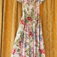 Vintage Dress - Floral 80s Bridesmaid Prom MODA