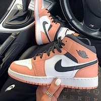 "Air Jordan 1 Low Mid ""Pink Quartz"" Sneakers Basketball Shoes"