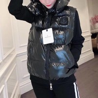 """Moncler"" Women Fashion Solid Color Sleeveless Zip Cardigan Hooded Down Vest Jacket Coat"