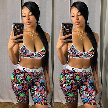 2020 new female models sex printing sling stitching webbing leisure sports suit two-piece suit