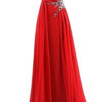 Dresstells® Sweetheart Beading Floor-length Chiffon Prom Dress Evening Gown Red Size 6