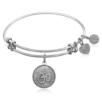 Expandable Bangle in White Tone Brass with Om Calmness Symbol