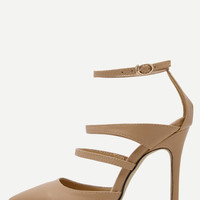 Apricot Faux Leather Point Toe Mary Jane Pumps -SheIn(Sheinside)