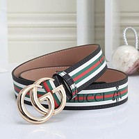 GG men's and women's double G letter buckle smooth buckle belt / 115cm