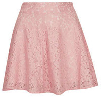Pink High Waist Lace Skater Skirt - New In This Week  - New In