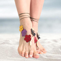Flower barefoot sandals, barefoot beaded beach jewelry sandals, leather flower butterfly barefoot sandals, boho anklet hippie sandals