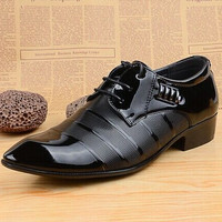 Men's Leather Formal Glossy Pointed Toe Dress Shoes Black