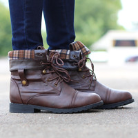 Lagos Combat Boots {Brown}