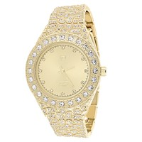 Men's Custom Solitaire Gold face Nugget  Band Watch