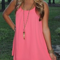 Bangles Boutique — TWO TIERED CORAL DRESS ACCENTED WITH A RUFFLE BACK