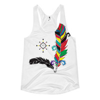 *CLEARANCE !! Bohemian colorful feather Women's racerback tank