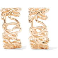 Sarah & Sebastian - Scribble 9-karat gold hoop earrings